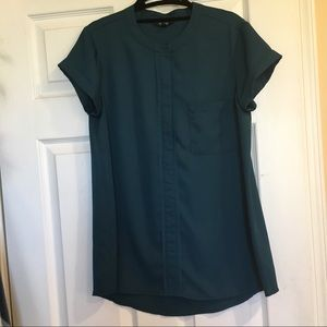 Vera Wang Emerald Green Short Sleeve Blouse